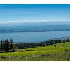 Séjour Massif du Jura juin 2019. Panoramique sur le Lac de Neuchâtel. Photo: Yves Crozelon