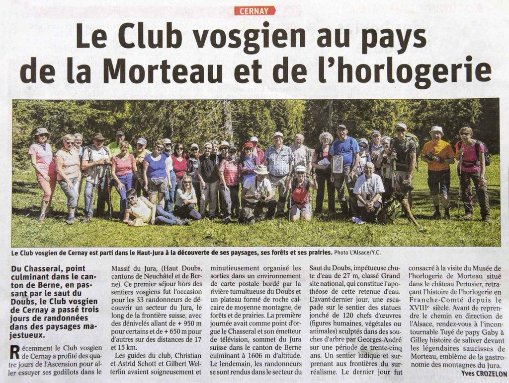 Le Club Vosgien au pays de la Morteau et de l'horlogerie.