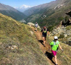 Marianne Tolomio en stage marche nordique à Cogne vallée d'Aoste pas alterné juin 2019