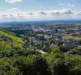 Thann au Chêne Wotan. 26-07-2020. Vue panoramique sur le Vignoble du Rangen et Thann Photo: Yves Crozelon