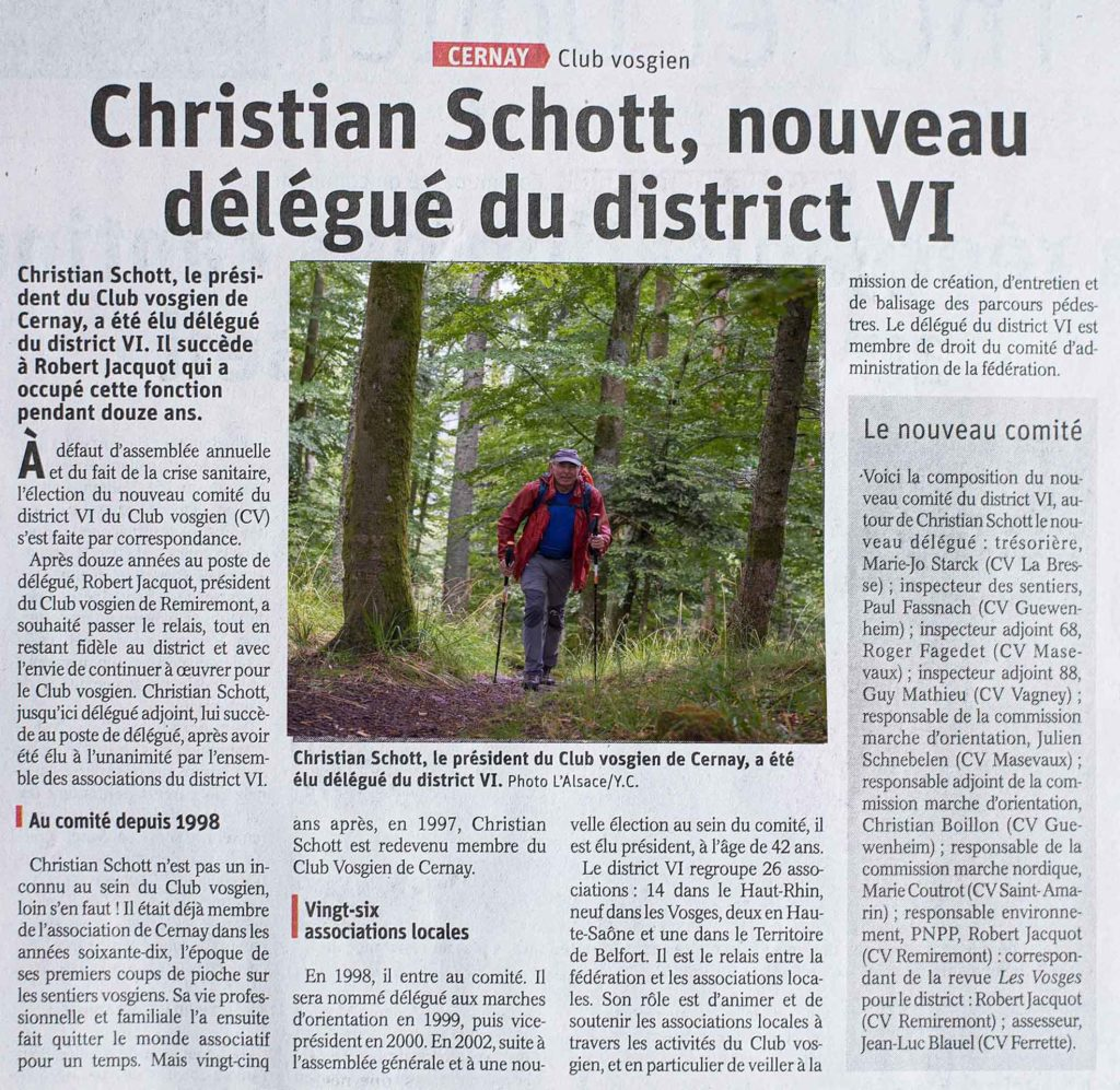 Christian Schott, nouveau délégué du district VI. Article: Yves Crozelon