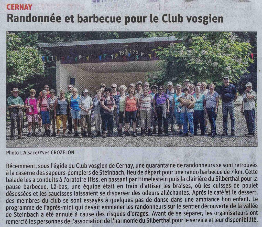 Article l'Alsace Randonnée et barbecue. Article Yves Crozelon