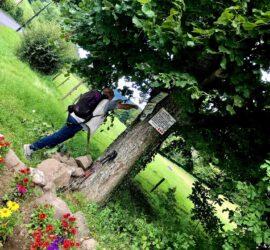 Roderen-Weielés 18-08-2021. À Rammersmatt Henri dégage les branchages sur les panneaux indicateurs. Photo: Yves Crozelon